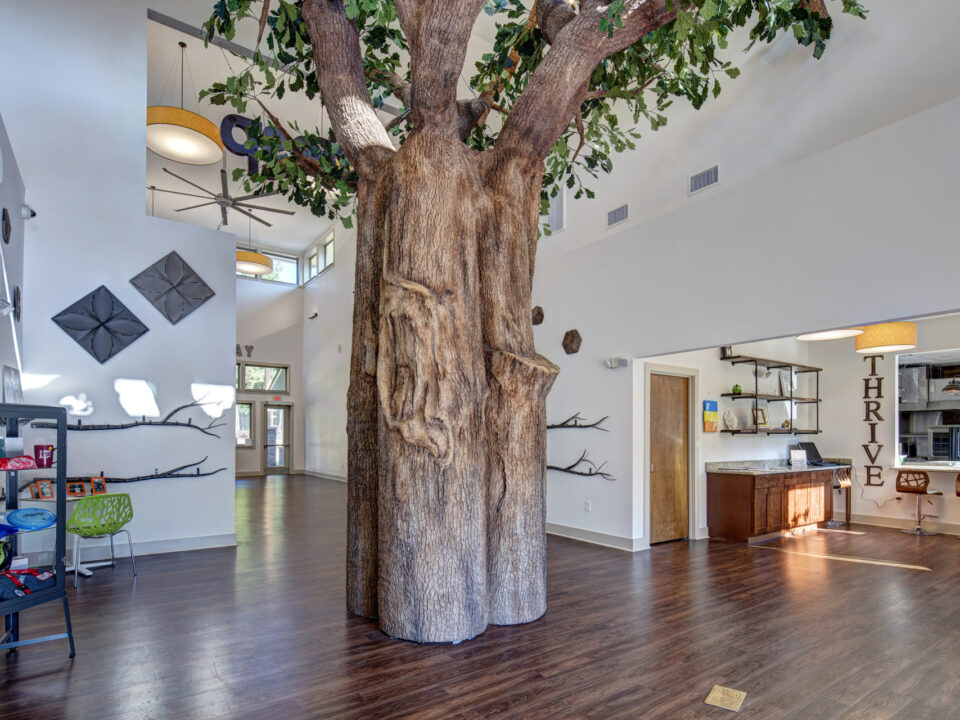 A Flexbark designed tree is the centerpiece of this extra special place.